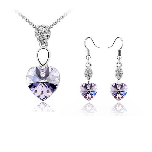 Amelia Heart Necklace and Earrings Set