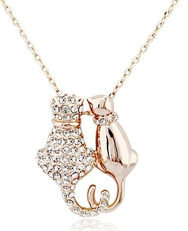 Cute Crystal Cats Necklace